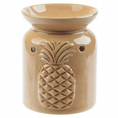 Ceramiczny kominek do olejków zapachowych z ananasem/brąz